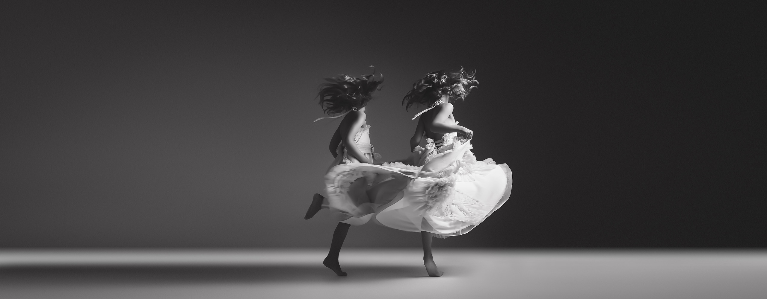 Jennifer Blakeley - Two Girls Dancing in flowing dress